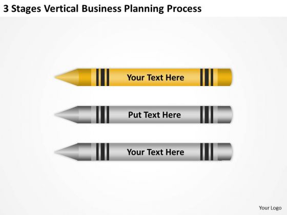 Sample Business Model Diagram 3 Stages Vertical Planning Process PowerPoint Slide