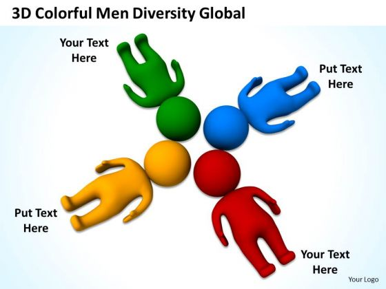 Sample Business Model Diagram Men Diversity Global PowerPoint Templates Backgrounds For Slides