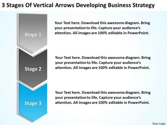 Sample Business Model Diagram Of Vertical Arrows Developing Strategy Ppt PowerPoint Slides