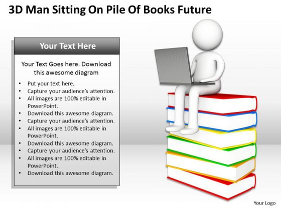 Sample Business Organizational Chart 3d Man Sitting Pile Of Books Future PowerPoint Templates