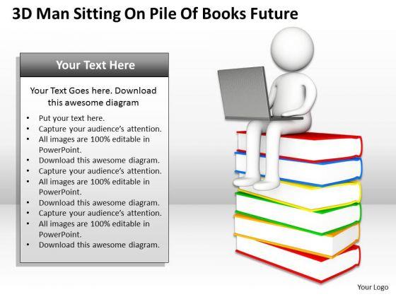 Sample Business Organizational Chart 3d Man Sitting Pile Of Books Future PowerPoint Templates