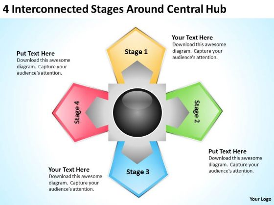 Sample Business Process Flow Diagram Interconnected Stages Around Central Hub PowerPoint Templates