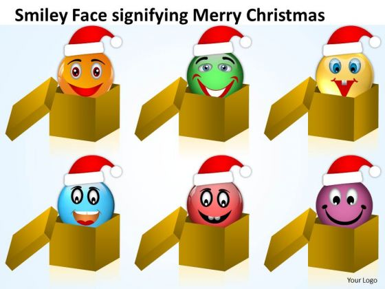 Santa Faces Coming Out Of Boxes Christmas Eve PowerPoint Templates