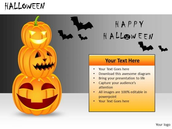 Scary Halloween Pumpkins Bats PowerPoint Templates Editable Ppt Slides