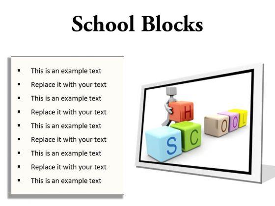 School Blocks Education PowerPoint Presentation Slides F