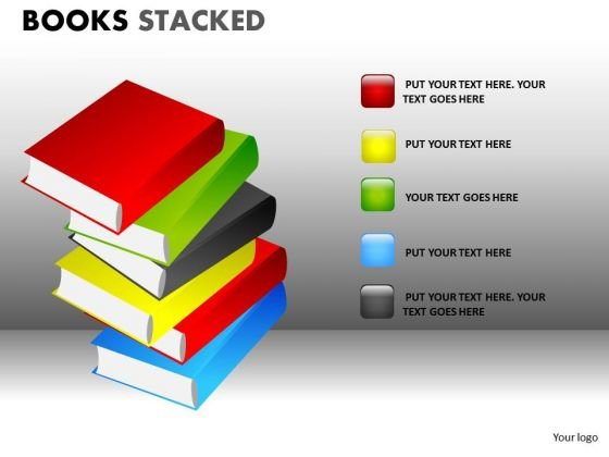 School Books Piled Up PowerPoint Ppt Templates