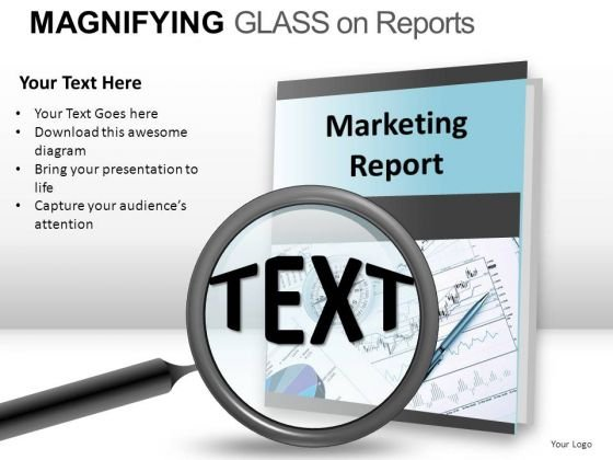 Scrutiny Magnifying Glass On Report PowerPoint Slides And Ppt Diagram Templates