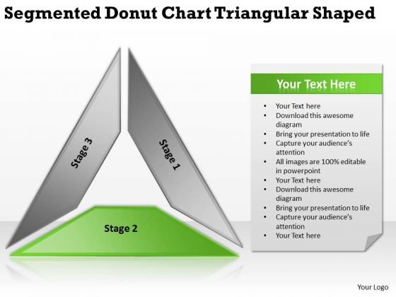 Segmented Donut Chart Triangular Shaped Business Plan Program PowerPoint Templates