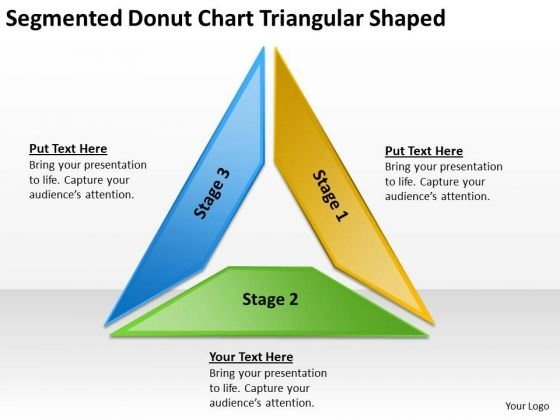 Segmented Donut Chart Triangular Shaped Catering Business Plan PowerPoint Templates