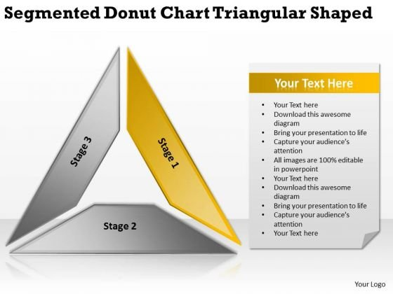 Segmented Donut Chart Triangular Shaped Ppt Business Plan PowerPoint Templates