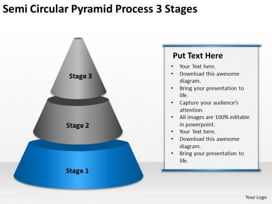 Semi Circular Pyramid Process 3 Stages Ppt Business Plan Writer PowerPoint Templates