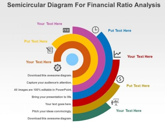 Semicircular Diagram For Financial Ratio Analysis Powerpoint