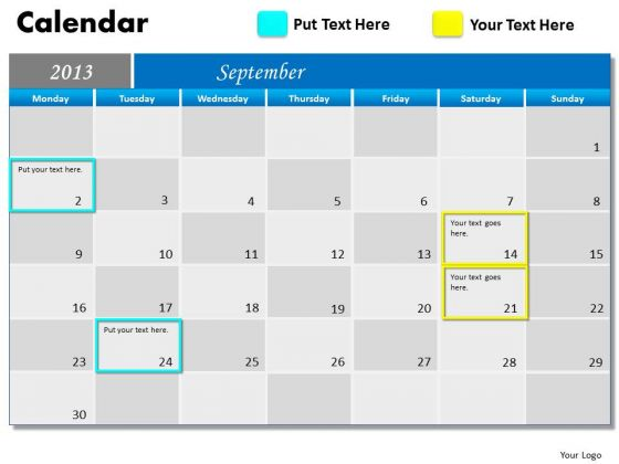 September 2013 Calendar PowerPoint Slides Ppt Templates