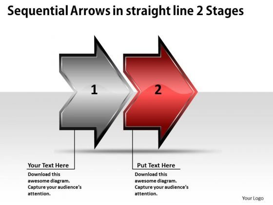 Sequential Arrows In Straight Line 2 Stages Ppt Business To Strategies PowerPoint Templates