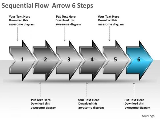 Sequential Flow Arrow 6 Steps Circuit Simulation PowerPoint Slides