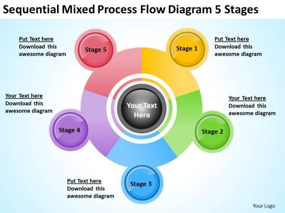 Sequential Mixed Process Flow Diagram 5 Stages Ppt Basic Business Plan PowerPoint Slides