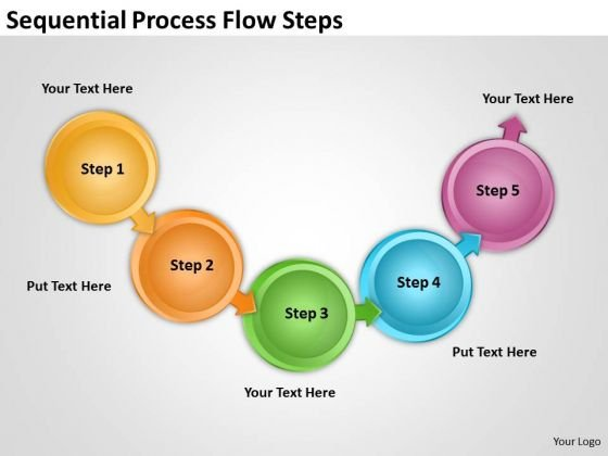 Sequential Process Flow Steps Basic Chart PowerPoint Templates