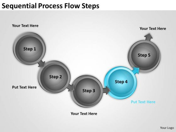 Sequential Process Flow Steps Professional Business Plan Writers PowerPoint Templates