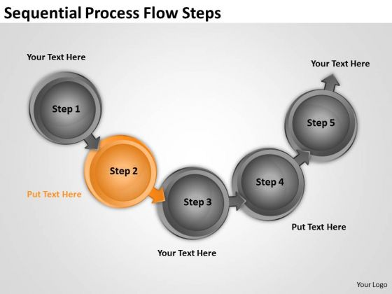 Sequential Process Flow Steps Sales Business Plan PowerPoint Templates