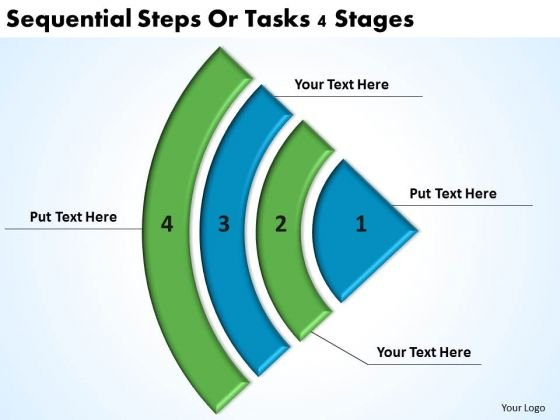 Sequential Steps Or Tasks 4 Stages Template Of Business Plan PowerPoint Slides