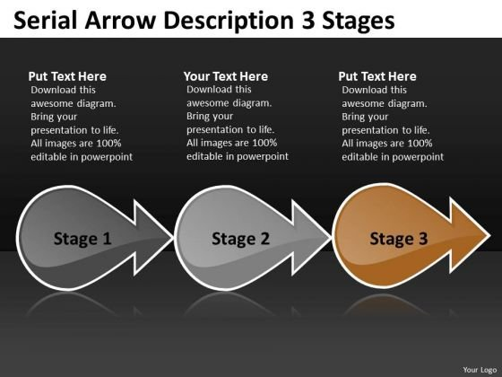 Serial Arrow Description 3 Stages Ppt Inspection Business PowerPoint Templates