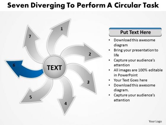 Seven Diverging Steps To Perform A Circular Task Flow Chart PowerPoint Slides