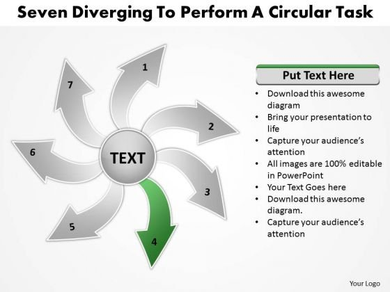 Seven Diverging Steps To Perform Circular Task Flow Chart PowerPoint Slides