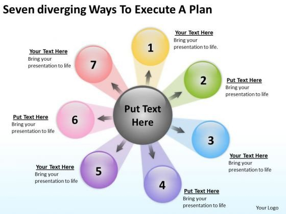 Seven Diverging Ways To Execute Plan Cycle Process Diagram PowerPoint Slides