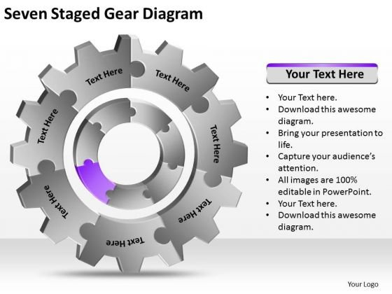 Seven Staged Gear Diagram Ppt Business Plan PowerPoint Templates