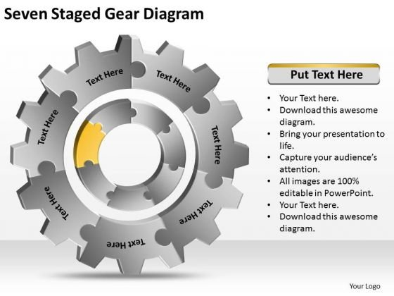 Seven Staged Gear Diagram Ppt Business Plan Writing Software PowerPoint Slides