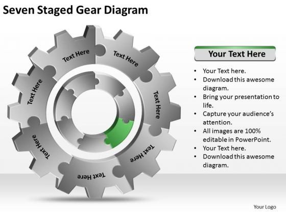 Seven Staged Gear Diagram Ppt Business Plans Free Templates PowerPoint