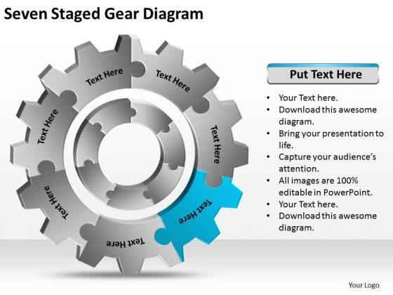 Seven Staged Gear Diagram Ppt Construction Business Plan PowerPoint Templates