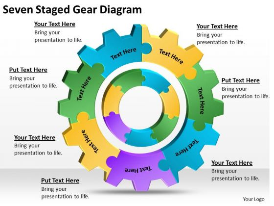 seven staged gear diagram ppt doing business plan powerpoint