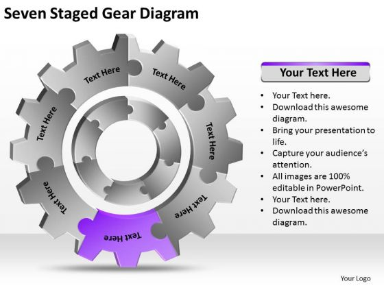 Seven Staged Gear Diagram Ppt Easy Business Plans PowerPoint Templates