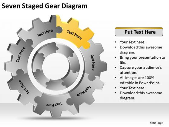 Seven Staged Gear Diagram Ppt How Do Write Business Plan PowerPoint Slides
