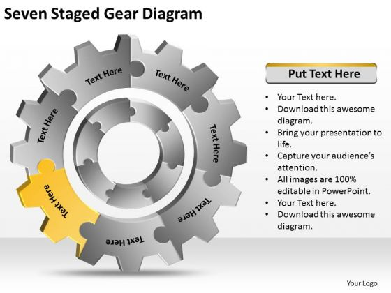 Seven Staged Gear Diagram Ppt Written Business Plan PowerPoint Slides