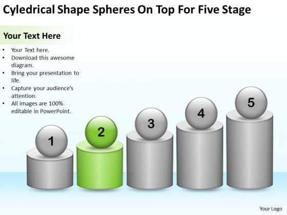 Shape Spheres On Top For Five Stage Franchise Business Plan Template PowerPoint Slides