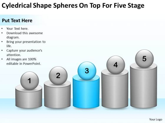 Shape Spheres On Top For Five Stage Property Management Business Plan PowerPoint Templates