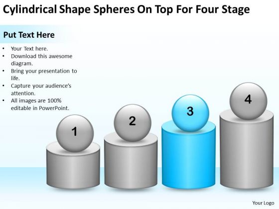 Shape Spheres On Top For Four Stage Ppt Business Planning Consultants PowerPoint Slides