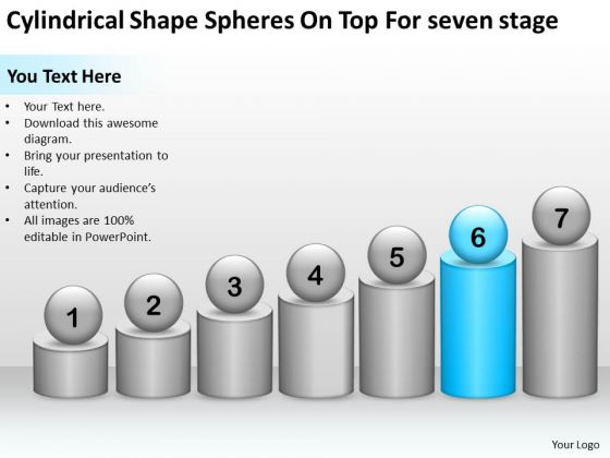 Shape Spheres On Top For Seven Stage Ppt Create Business Plan Template PowerPoint Templates