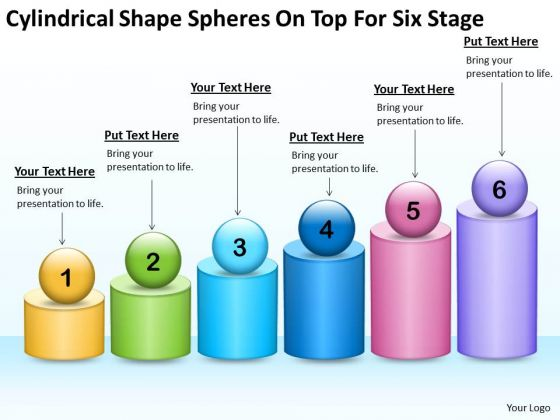 Shape Spheres On Top For Six Stage Ppt Companies That Write Business Plans PowerPoint Templates