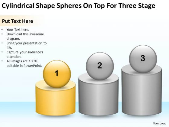 Shape Spheres On Top For Three Stage Ppt Small Business Plan PowerPoint Templates