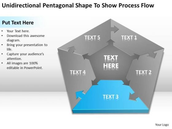 Shape To Show Process Flow Ppt Non Profit Business Plan Template Free PowerPoint Slides