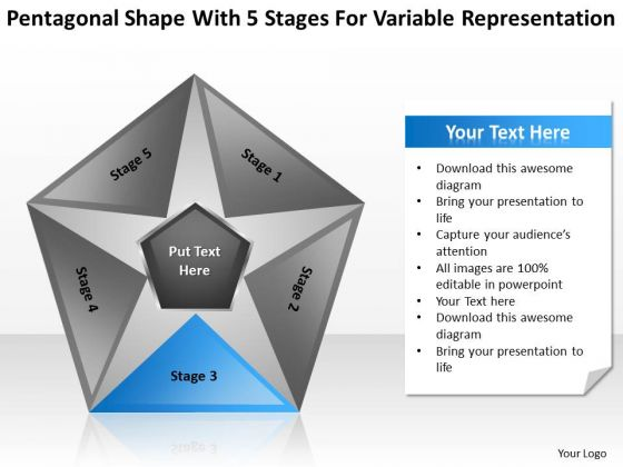 Shape With 5 Stages For Variable Representation Business Plan PowerPoint Slides