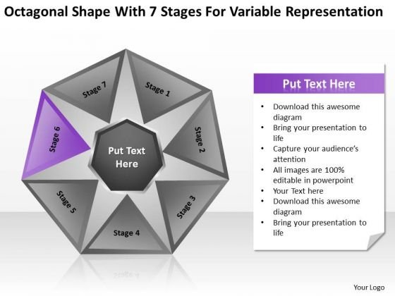 Shape With 7 Stages For Variable Representation Ppt Business Plan PowerPoint Slides