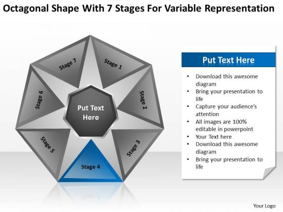 Shape With 7 Stages For Variable Representation Ppt Business Plan PowerPoint Templates