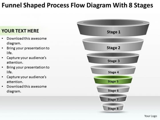 Shaped Process Flow Diagram With 8 Stages Ppt How Do Make Business Plan PowerPoint Templates