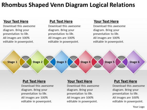 Shaped Venn Diagram Logical Relations Ppt Business Plan Example PowerPoint Templates