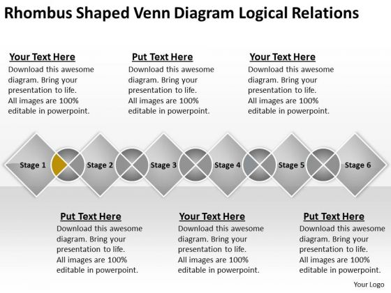 Shaped Venn Diagram Logical Relations Ppt Creating Business Plan Template PowerPoint Slides