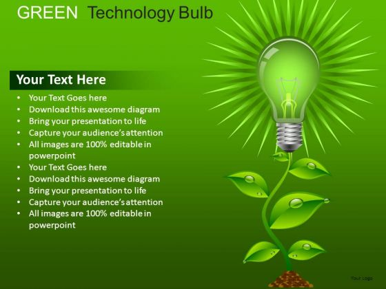Shapes Green Technology Bulb PowerPoint Slides And Ppt Diagrams Templates